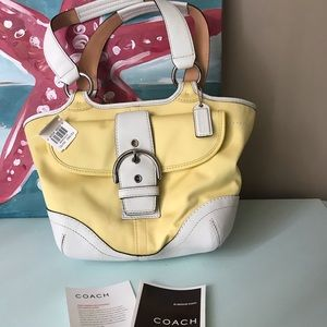Coach Yellow and White Leather Tote Style #1862